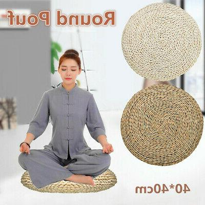 US 16'' Grass Weave Yoga Cushion Mat Pillow Pouf Chair Seat