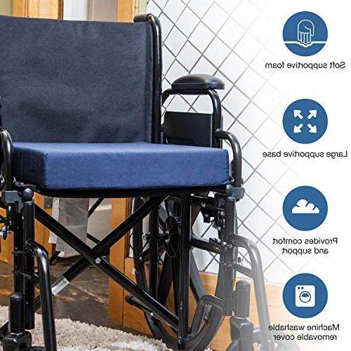 DMI Polyfoam Wheelchair Seat Cushion, Cushion Chairs, Adds Support, Reduces and on Back, Navy, x 18