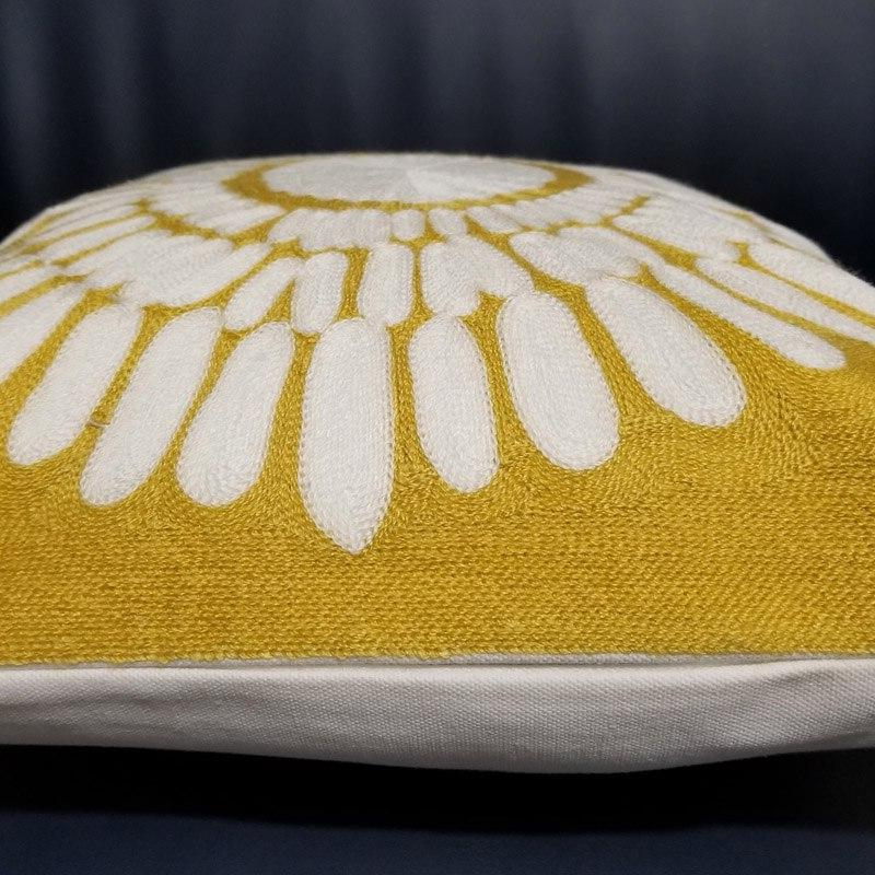 Yellow Embroidered <font><b>Cushion</b></font> Geometric Cotton Square Cover Home decorative pillow Couch