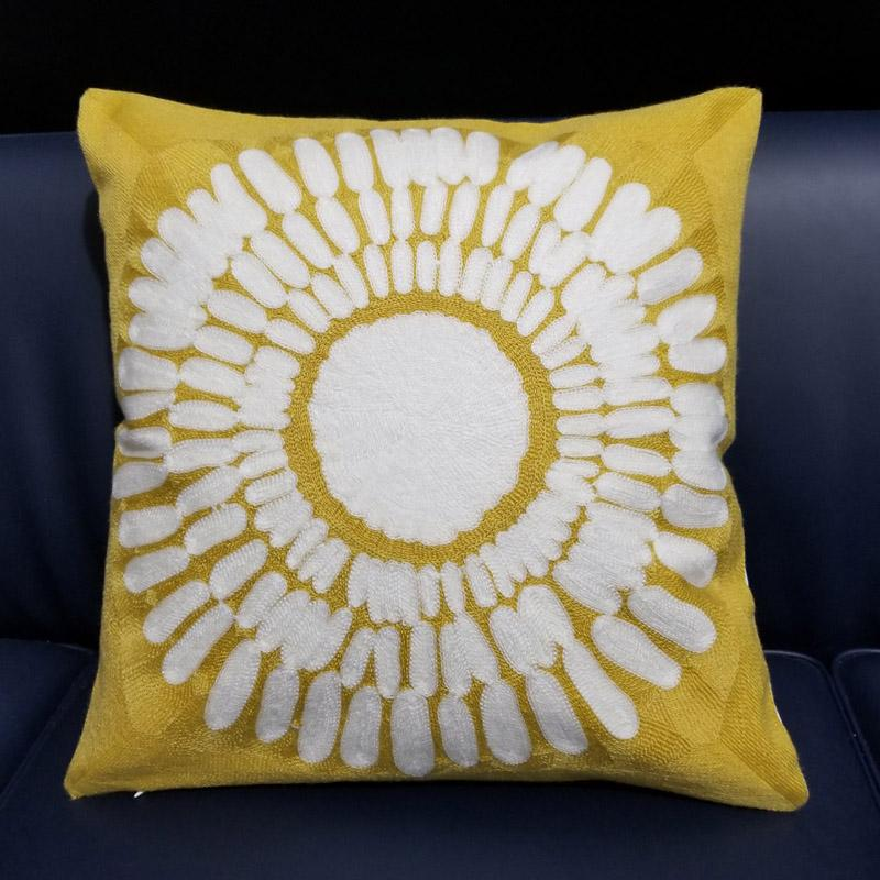 Yellow Embroidered <font><b>Cushion</b></font> Geometric Cotton Cover Home Car decorative pillow cases Couch