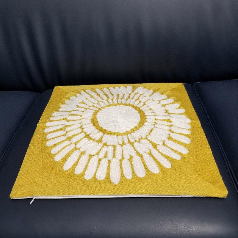 Yellow Embroidered Cover Geometric Square Cover 45x45cm Home decorative Couch