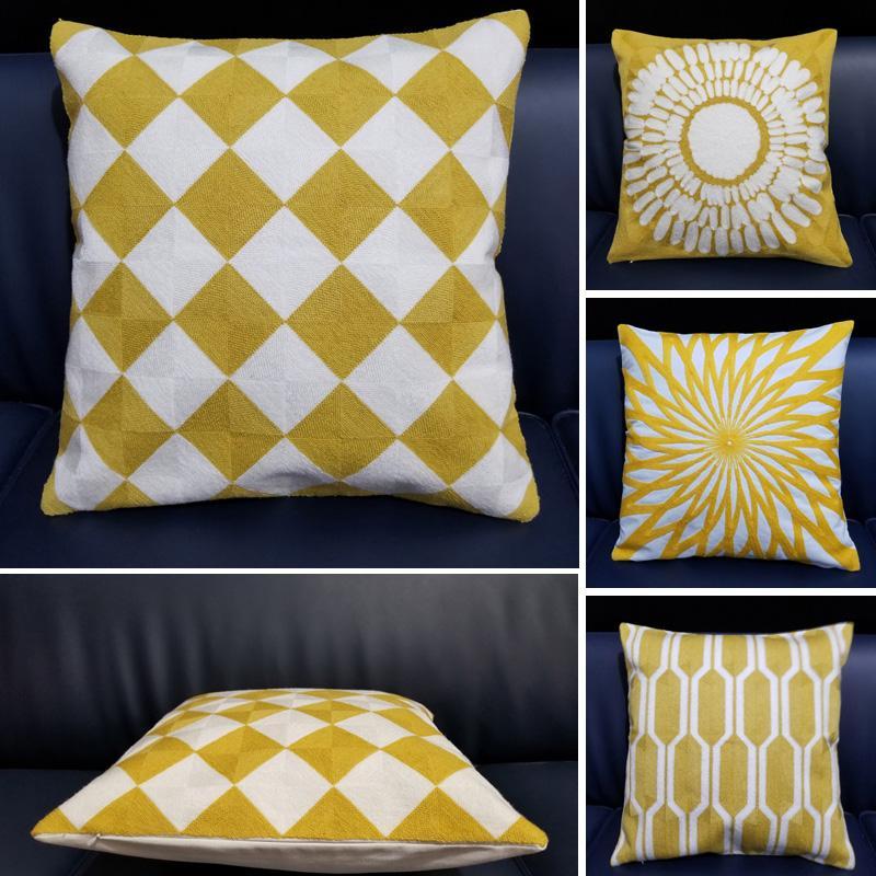 yellow embroidered font b cushion b font