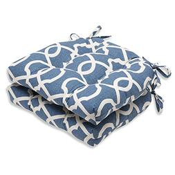 Pillow Perfect Lattice Damask Yacht Reversible Chair Pad, Se