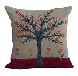 linen blend flowers tree pattern