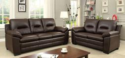 Living Room Brown Chic Modern Sofa Loveseat Chair 3pc Set Pl