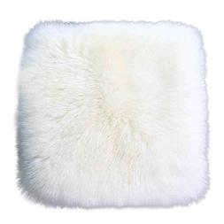 "USIX 15.7"" Luxurious Square Genuine Sheepskin Leather with L"