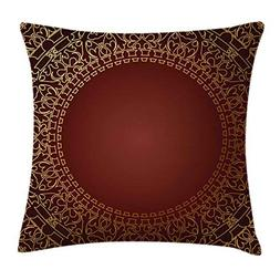 Ambesonne Maroon Throw Pillow Cushion Cover, Vintage Frame w
