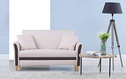Divano Roma Furniture Modern 2 Tone Small Space Linen Fabric