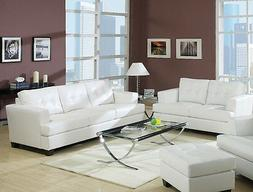 New 2pc Sofa Set Tufted Seat & Back Sofa Loveseat Cushion Wh