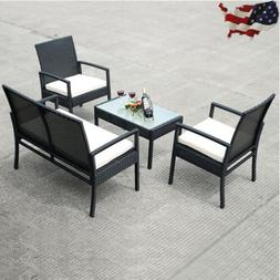 New 4 PCS Outdoor Patio Furniture Set Table Chair Sofa Cushi