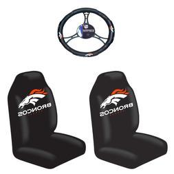 NFL Denver Broncos Steering Wheel Cover, Black, One Size