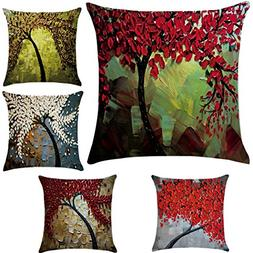 5 Pack Oil Painting Cotton Linen Throw Pillow Case Cushion C