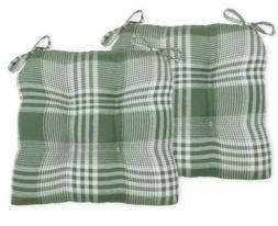 Essentials Olive Green Checkered Seat Cushion, Set of 6 - Ki