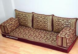 Oriental Floor Seating Sofa Gold Corner Arabic cushions Turk