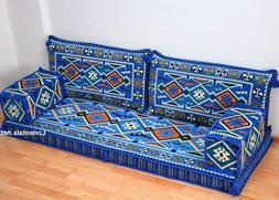 Oriental Seating Sofa Blue Arabic Floor cushions Turkish Boh