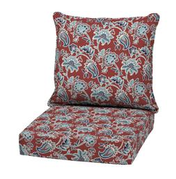 Outdoor Deep Seat Chair Patio Cushion Red Floral Pad UV Resi