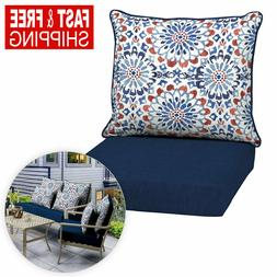 Outdoor Deep Seat Chair Patio Cushions Blue Pad UV Resistant