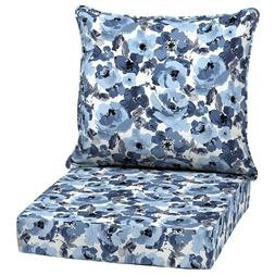 Outdoor Deep Seat Chair Patio Cushions Set Blue Pad UVResist