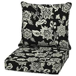 Outdoor Deep Seat Chair Patio Cushions Set Black Pad UVResis