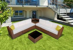 Outdoor Furniture Patio Brown Wicker Rattan Sofa Chair Set C