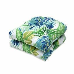 Pillow Perfect Outdoor/ Indoor Soleil Blue/Green Wicker Seat