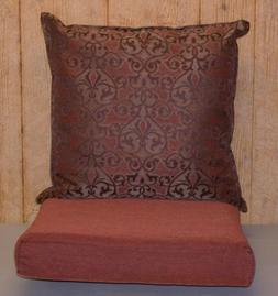 Outdoor Jacquard Deep Seat Cushion Set ~ Rust Brown ~ 22x22x