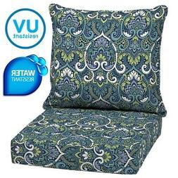Outdoor Patio Deep Chair Cushions Set Garden Furniture 2 Pad