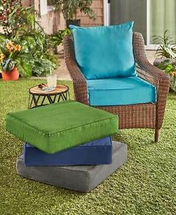2 PC Outdoor Patio Deep Seat Cushion Set Turquoise Linen Tan