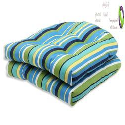 outdoor topanga stripe lagoon wicker seat cushion
