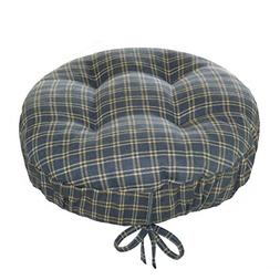 Britt Blue Plaid Round Barstool Cushion with Drawstring Yoke
