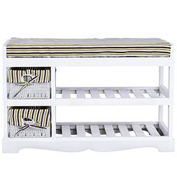 GJH One Padded Shoe Storage Bench Organizer Rack Shelf Unit