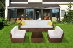 Patio Brown Wicker Rattan Sofa Chair Outdoor Furniture Set C
