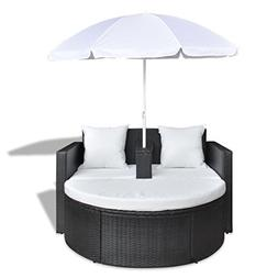 Allblessings Patio Lounge Set Poly Rattan Wicker Black Sunbe