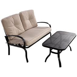 Giantex 2 Pcs Patio Outdoor LoveSeat Coffee Table Set Furnit