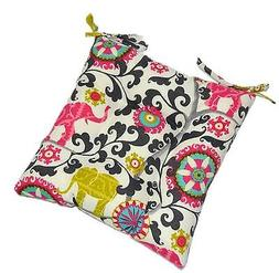 Pink Elephant Tufted Seat Cushion w/ Ties for Kitchen Dining