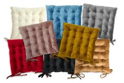 Quilted Velvet Padded Cushion Chair Seat Pads With Ties Gard