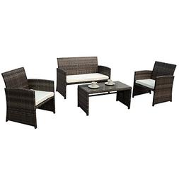 PATIOROMA 4pc Rattan Sectional Furniture Set with Cream Whit