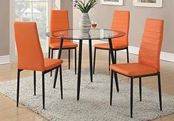 Poundex Retro Style Orange Faux Leather Dining Chairs, Set o