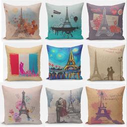 Retro Paris Eiffel Tower Pillow Case Square Home Decor Sofa