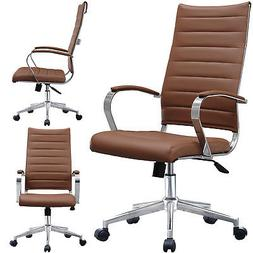 Ribbed Leather Adjustable Cushion Office Chair High Back Com