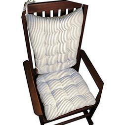 Barnett Products Ticking Stripe Blue Rocking Chair Cushions