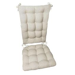 Barnett Products Ticking Stripe Black Rocking Chair Cushion