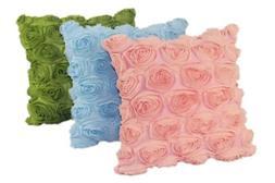 Rose Floral Satin Square Throw Pillow Skin Seat Back Cushion