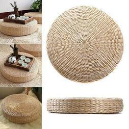 Round Pouf Tatami Floor Pillow Seat Cushion Pad Straw Medita
