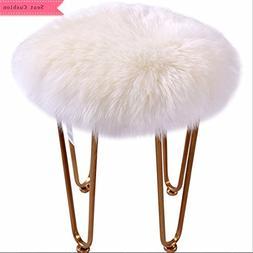 Round Seat Cushion, Luxury Shaggy Sheepskin Round Chair Cove