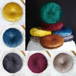 Round Velvet Throw Pillow Pumpkin Chair Sofa Seat Backrest C