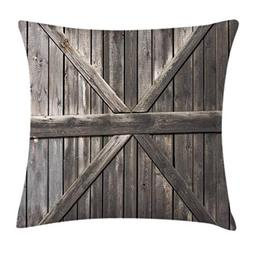 Ambesonne Rustic Throw Pillow Cushion Cover, Old Wooden Door