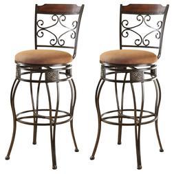 Set Of 2 Bar Chair Swivel Stools Metal Microfiber Seat Cushi
