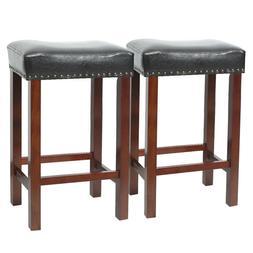Set of 2 Bar Stool Wood Legs PU Cushion Seat Black Dining Pu