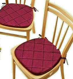 Set of 2~Quilted Memory Foam Cushioned Chair Pads with Ties~